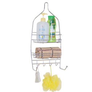 Chrome-plated-metal-shower-caddy-basket-hanging