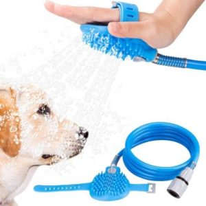 Pet-Shower-SprayerPet-Bathing-Tool-Sprayer-and-Scrubber-inOne-Combines-BatheMassage-with-2-Hose-AdaptersBlue-towel-IndoorOutdoor-Use