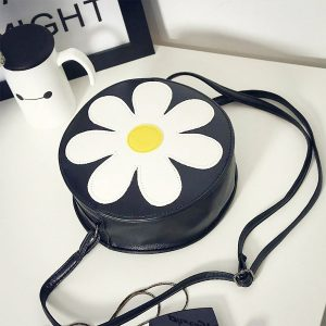 41001233 Flower Round Women's Cross Body Vintage Style Soft PU Leather Bag (11)