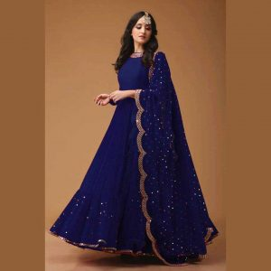 Blue-party-wear-gown-georgette
