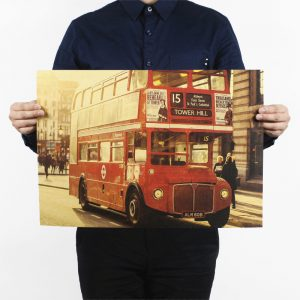 Double Decker Red Bus In London Design Vintage Kraft Paper Wall Decal