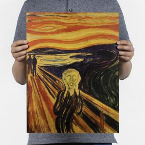Edvard Munch At the Munch Museum Design Vintage Kraft Paper Wall Decal