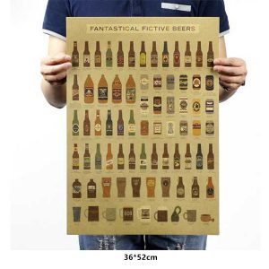 Fictive Beers Design Old Style Decorative Poster Kraft Paper Wall Decal (3)