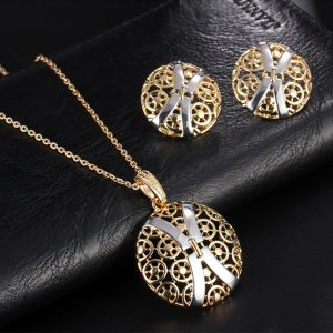 J12001127 Popular Woman Gold Hollow X Symbol Pendant Necklaces Earring (6)
