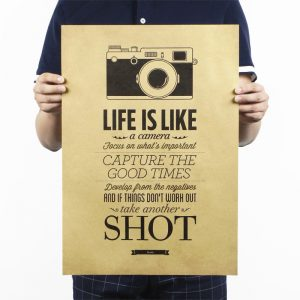 Life Is Like A Camera Design Vintage Kraft Paper Wall Decal