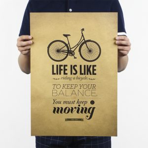 Life Is Like Riding A Bicycle Design Vintage Kraft Paper Wall Decal