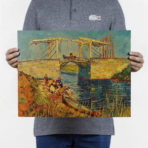 Van Gogh Lang Lu Bridge And The Water Side Of The Laundry Design Vintage Kraft Paper Wall Decal