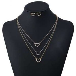 Women Gold Plate Multilayer Necklace Crystal Heart Jewelry Set (1)