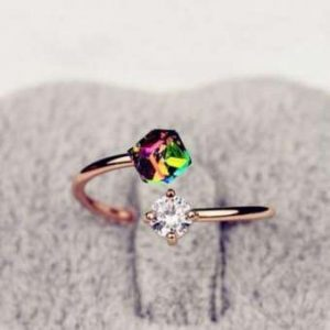 Zircon Classical Alloy Colored Diamond Open Ring
