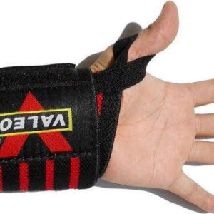 Weight-Lifting-Bar-Straps-Gym-Bodybuilding-Wrist-Support-Wraps-Black-and-red