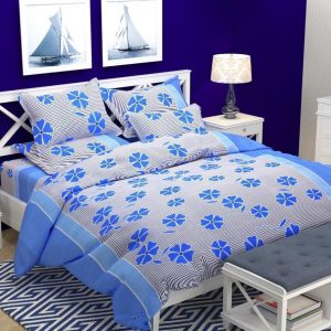 blue colour bed sheet