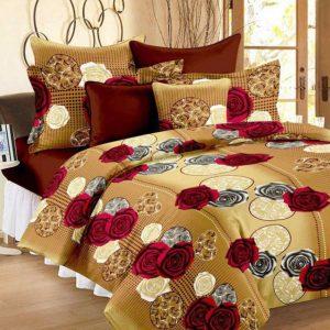maroon and yellow bed sheet