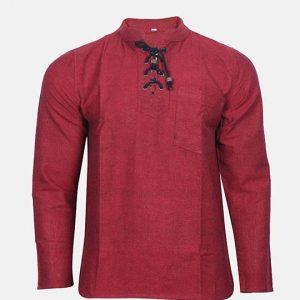 Front Lace Kurtha Style Shirt Maroon